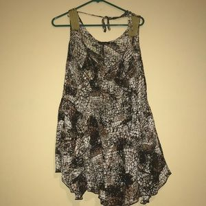 Snake print dress with braided shoulder top small